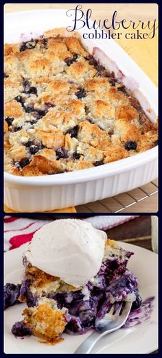 One part cobbler, one part cake, and wholly delicious! Make the ultimate blueberry cobbler cake. Bakerette.com
