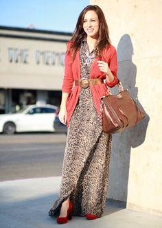 Orange cardigan maxi dress leopard burnt orange - belt is key here!