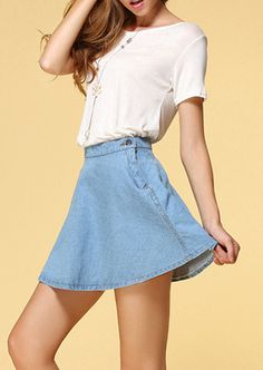 Shop Blue Vintage A Line Denim Skirt online. Sheinside offers Blue Vintage A Line Denim Skirt & more to fit your fashionable needs. Free Shipping Worldwide!