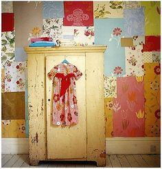 patchwork wallpaper. creative boho.