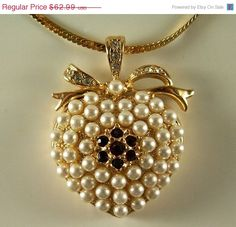 25% OFF Sale Vintage Charming Monet Pearl Heart by ClevelandFinds
