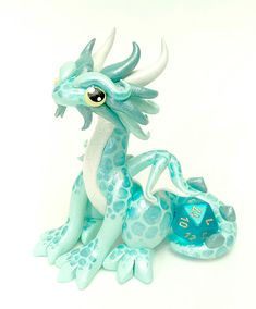 Polymer Clay Dragon Dice Holder Mint Green Sea Foam от Emizart