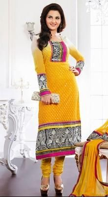 Chic Yellow Chudidar Kameez