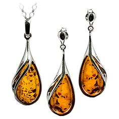 Honey Amber and Sterling Silver Drop…