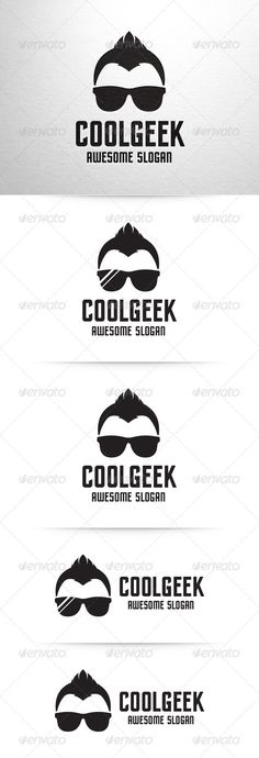 Cool Geek Logo Template ...  PSD logo, black, boy, cool, creative, design, developer, dude, geek, glasses, guy, hair, haircut, head, logo, macho, man, nerd, psd, simple, stocklogo, sunglasses, template, unique, vector