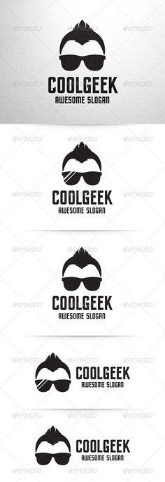 Cool Geek Logo Template ...  PSD logo, black, boy, cool, creative, design, developer, dude, geek, glasses, guy, hair, haircut, head, logo, macho, man, nerd, psd, simple, stocklogo, sunglasses, template, unique, vector