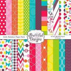 Girly Rainbow Paper Pack :: Paper Packs :: Clipart and Graphics :: Aimee Asher Boutique