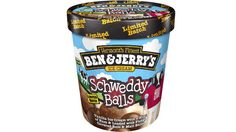 Ben & Jerry's Schweddy Balls: vanilla ice cream loaded with fudge covered rum and milk chocolate malt balls