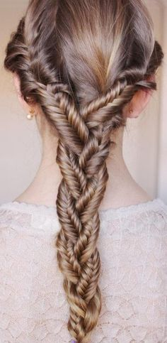 Brown + Long + Fishtail Braid With Side Twists