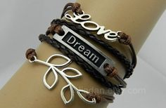 Dream bracelet leaves bracelet love bracelet by jewellrydesign, $10.99