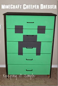 Minecraft Creeper Dresser with DecoArt Chalk Paint.
