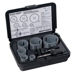 Klein Tools Electrician's Hole Saw Kit This 8-piece saw kit features all of the most frequently used saw sizes to help accomplish a variety of basic electrical work. Additionally, it includes 2 arbors. All of the parts are stored in a rust-proof, molded plastic carrying case for added convenience. Saw sizes include: 7/8, 1-1/8, 1-3/8, 1-3/4, 2, and 2-1/2 inches.  For more information, follow the link to our website!