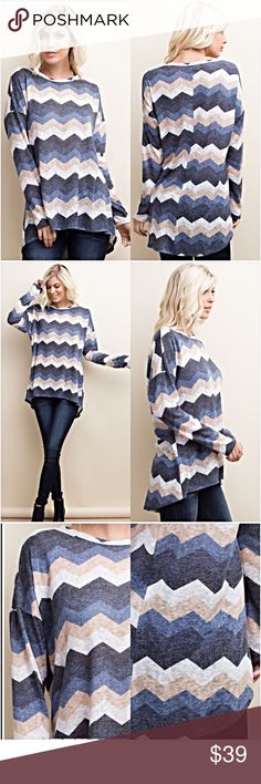"Chic Chevron Hi Low Lightweight Sweater Tunic SML This beautiful, chic chevron lightweight hi low sweater tunic is the perfect piece to transition from winter to spring. Love the oversized slouchy look & the neutral colors look great with all shades of denim or leggings. 78% Polyester 22% Rayon.   • Small Bust 43"" Front Length 28"" Back 32"" • Med Bust 44"" Front Length 28.5"" Back 32.5"" • Large Bust 45"" Front Length 29"" Back 33"" Tops"