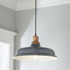 """Check out Wood Capped Warehouse Pendant from Shades of Light Because warehouse-style pendants have become essential to today's on-trend farmhouse settings, we designed our Wood Capped Warehouse Pendant in a curated collection of exclusive colors to suite your personal farmhouse style. Whether modern, rustic or coastal, the wood capped detail, cloth cord & painted shade will create refined charm in everyday spaces. Available to ship - September 2018. • Actual Size: 8.5""""Hx16""""Wx16""""D"""