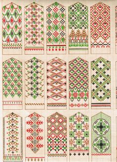 Lovely Latvian mitten patterns - not actual knitting patterns just the image here unfortunately because I want to make them all. So pretty. Knitting Charts, Knitting Stitches, Hand Knitting, Knitting Patterns, Beading Patterns, Color Patterns, Mittens Pattern, Knit Mittens, Knitted Gloves