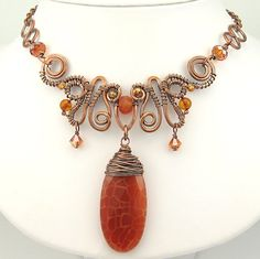 Hammered Forged and Wrapped Copper Wire Necklace by OzmayDesigns