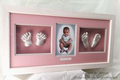 Baby Girl Hand & Feet Moulds framed with a photo. By Babyprints.co.uk