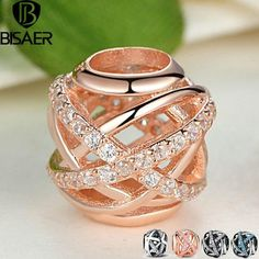 BISAER 925 Sterling Silver Heart Snowflake Maple Leaves CZ Crystal Beads Charm Fit Charm Bracelet DIY Gold Jewelry Mom Gift Cells world