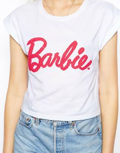 ASOS Cropped T-Shirt with Barbie Caviar Beading Detail