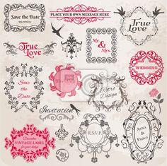 Vinilo cuadros de la boda del vintage y elementos de diseño - vector en - borde • PIXERS.es
