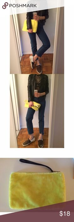 Faux fur clutch New without tag. The perfect piece for adding a pop of color to the dark and boring fall and winter outfits. Faux fur. Inside pockets and zipper compartments and wristband. Zara Bags Clutches & Wristlets