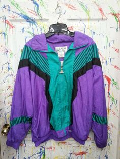 Vintage 80's windbreaker zip up jacket for both men and women size Medium Large Purple Turquoise Black Striped Motif 1980s by RagsAGoGo, $28.00