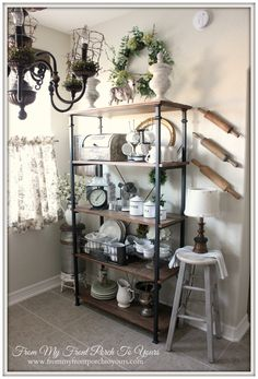 Updated French Farmhouse Breakfast Nook---Courtland Long Bookcase from Inspire Q