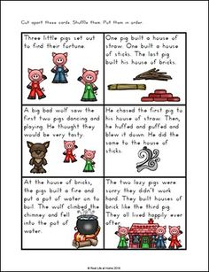 Three Little Pigs Story Sequencing Cards from Real Life at Home (Part of the free Three Little Pigs Printables Packet) Sequencing Cards, Story Sequencing, Sequencing Activities, Therapy Activities, French Flashcards, Flashcards For Kids, Worksheets For Kids, Three Little Pigs Story, Rhyming Preschool