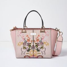 River Island Pink floral embroidered tote bag ($59) via Polyvore featuring bags, handbags, tote bags, handbags totes, pink tote purse, tote hand bags, top handle purse and pink tote handbags