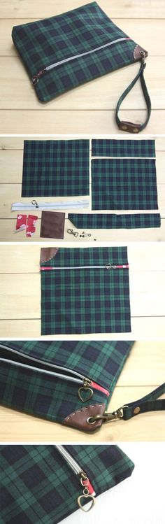 Zippered Pouch with Wrist Strap - Sew DIY Tutorial   http://www.handmadiya.com/2015/11/easy-wrist-strap-tutorial.html