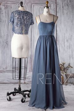 Prom Dress Ink Blue Bridesmaid Dress Short Sleeves Illusion Lace Shawl Two Piece Separate Maxi Dress Spaghetti Strap Tulle Party Steel Blue Bridesmaid Dresses, Blue Bridesmaids, Short Bridesmaid Dresses, Prom Dresses, Steel Blue Dress, Elegant Dresses, Beautiful Dresses, High Fashion Dresses, Spaghetti Strap Dresses