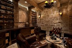 White Table in Wood Rustic Wine Cellar | Home Interior Decor ...