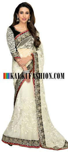Buy Online from the link below. We ship worldwide (Free Shipping over US$100) http://www.kalkifashion.com/karishma-kapoor-saree-in-white-with-thread-embroidery-all-over.html Karishma Kapoor saree in white with thread embroidery all over