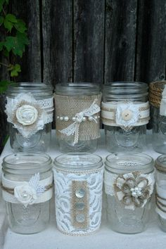 Lace and burlap Mason jar wedding decor Wedding Centerpieces, Wedding Table, Diy Wedding, Rustic Wedding, Wedding Decorations, Wedding Crafts, Wedding Ideas, Wedding Unique, Lace Mason Jars