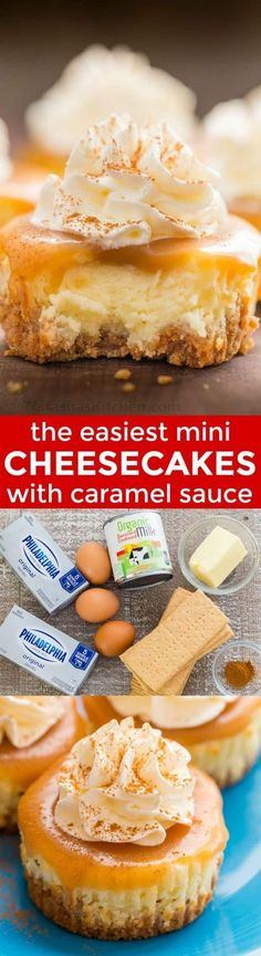 Mini cheesecakes with caramel sauce are so easy and delicious! The base is just 3 ingredients. Mini cheesecake cupcakes are excellent in flavor and texture. | natashaskitchen.com #minicheesecakes #cheesecake #fallrecipes