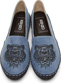 Kenzo: Blue Suede Tiger Espadrilles | SSENSE
