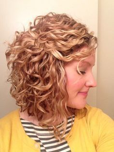 My curl patten with long, stacked bob ...I like the warm/caramel blonde color