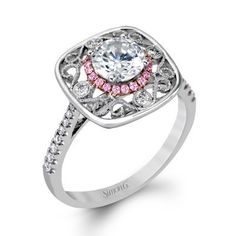 Simon G. 18K White Gold Halo Vintage Inspired Floral Diamond Engagement Ring Featuring 0.27 Carats Round Cut Diamonds. Style MR2528