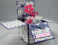 Card in a box. Stampin' Up! 3D 30th Birthday. Made with Melon Mambo, Wisteria Wonder and Elegant Eggplant using Flower Shop stampset and matching punch, Itty bitty banners with framelits die and Cheerful Treats DSP (retired) www.facebook.com/NicoleWilsonStampinUp http://nicolejuliewilson.blogspot.com.au/