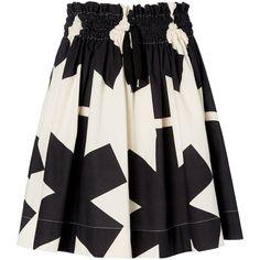 Natural/BlackBeam Skirt ($570) ❤ liked on Polyvore featuring skirts, layered skirt, summer skirts, black skirt, drawstring skirt and black knee length skirt