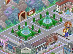ingresso springfield heights - edificio degli sceneggiatori - banca - howard fiori - scuola - social club - lard lad donuts - verde - il gridiron