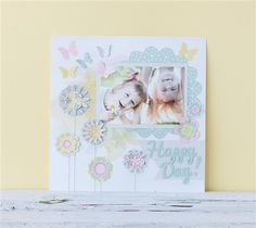 Happy Day Scrapbook Layout Flower Page. Make It Now with the Cricut Explore machine in Cricut Design Space.