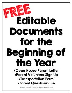 FREE Editable Documents for the Beginning of the Year - Young Teacher Love by Kristine Nannini Need tips for how to plan your Meet the Teacher Open House night? This post provides a meet the teacher editable template, parent letter, and other ideas. Letter To Teacher, Letter To Parents, Meet The Teacher, Parents As Teachers, New Teachers, Parent Letters, Parent Volunteer Letter, Teachers Toolbox, Back To School Night