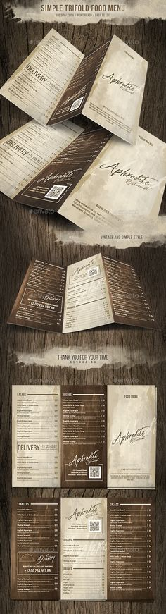 Simple Style Trifold Menu Design - Food Menus Print Templates