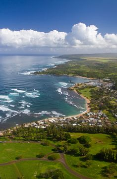 Waialua Bay and Haleiwa, Oahu Hawaii - Kaiaka Bay Beach Park in foreground, with Turtle Beach in the distance.