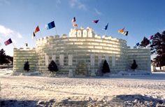 Saranac Lake NY. Watching the ice palace's being built was brilliant.
