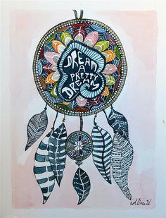 dreamcatcher,watercolour painting,dreamcatcher painting,lucky charm,watercolour,lucky charm painting,dreamcatcher watercolour,souvenir via Etsy