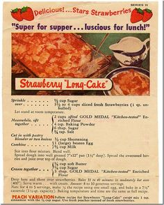 Vintage recipe for Strawberry Long Cake (sheet coffee cake), Mothers Day, Chronically Vintage: Retro Recipes, Old Recipes, Vintage Recipes, Cooking Recipes, 1950s Recipes, Cooking Videos, What's Cooking, Sweet Recipes, Food Cakes