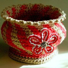 """""""Soft Pottery With Flower Motif"""" ~ pattern available"""