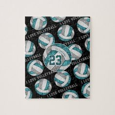 Teal gray girls I love volleyball personalized Jigsaw Puzzle